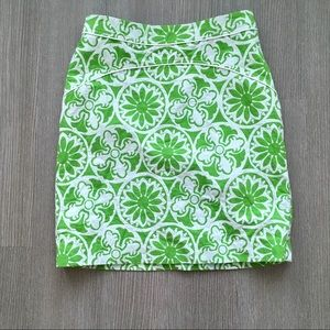Lilly Pulitzer Green & White Pencil Skirt, Size 8